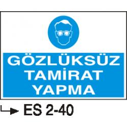 Göz Koruma Levhaları - Gözlüksüz tamirat yapma ES 2-40