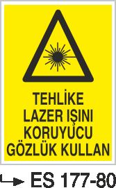 Radyasyon Uyarı Levhaları - Tehlike Lazer Işını Koruyucu Gözlük Kullan Es 177-80