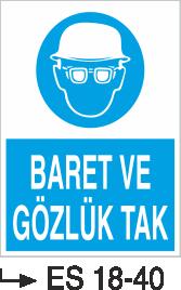 Baret Levhaları - Baret ve Gözlük Tak Es 18-40