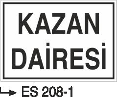 Kısımlar Levhası - Kazan Dairesi Es 208-1