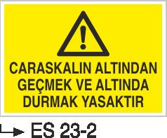 Caraskal-Tank-Silo İkaz Levhaları - Caraskalın Altından Geçmek ve Altında Durmak Yasaktır Es 23-2