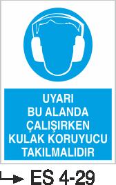 Kulak Koruma Levhaları - Uyarı Bu Alanda Çalışırken Kulak Koruyucu Takılmalıdır Es 4-29