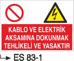 Elektrik Uyarı Levhaları - Kablo Ve Elektrik Aksamına Dokunmak Tehlikeli Ve Yasaktır Es 83-1