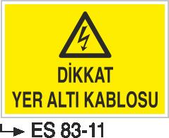 Kablo Uyarı İkaz Levhaları - Dikkat Yeraltı Kablosu Es 83-11