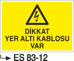 Kablo Uyarı İkaz Levhaları - Dikkat Yeraltı Kablosu Var Es 83-12