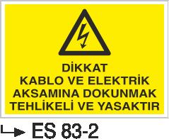 Elektrik Pano Levhaları - Dikkat Kablo Ve Elektrik Aksamına Dokunmak Tehlikeli Ve Yasaktır Es 83-2