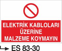 Kablo Uyarı İkaz Levhaları - Elektrik Kablolarının Üzerine Malzeme Koymayın Es 83-30