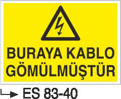 Kablo Uyarı İkaz Levhaları - Buraya Kablo Gömülmüştür Es 83-40