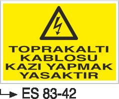 Kablo Uyarı İkaz Levhaları - Toprak Altı Kablosu Kazı Yapmak Yasaktır