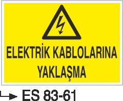 Elektrik Uyarı Levhaları - Elektrik Kablolarına Yaklaşma Es 83-61