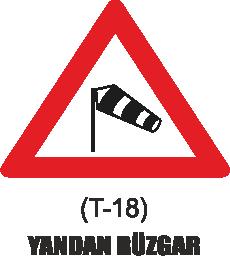 Trafik Tabelaları - Yandan Rüzgar Tabelası T-18