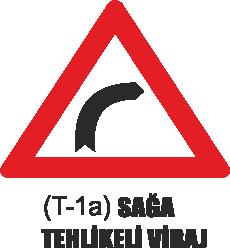 Trafik Tabelaları - Sağa Tehlikeli Viraj Tabelası T-1a