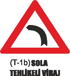 Trafik Tabelaları - Sola Tehlikeli Viraj Tabelası T-1b