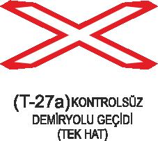 Trafik Tabelaları - Kontrolsüz Demiryolu Geçidi ( Tek Hat )Tabelası T-27