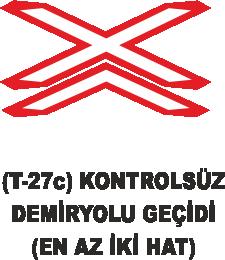 Trafik Tabelaları - Kontrolsüz Demiryolu Geçidi ( En Az İki Hat )Tabelası T-27c