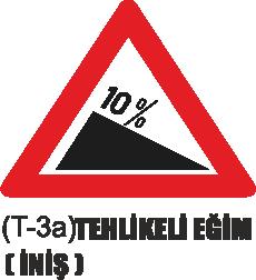 Trafik Tabelaları - Tehlikeli Eğim (İniş) Tabelası T-3a