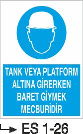 Baret Levhaları - Tank Veya Platform Altına Girerken Baret Giymek Mecburidir Es 1-26