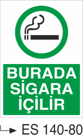 Sigara İkaz Uyarı Levhaları - Burada Sigara İçilir Es 140-80