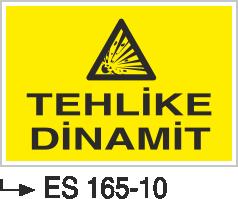 Patlayıcı Madde Levhaları - Tehlike Dinamit Es 165-10