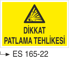 Patlayıcı Madde Levhaları - Dikkat Patlama Tehlikesi Es 165-22