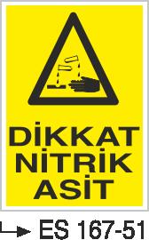 Asit İkaz ve Uyarı Levhaları - Dikkat Nitrik Asit ES 167-51