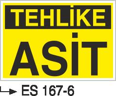 Asit İkaz ve Uyarı Levhaları - Tehlike Asit Es 167-6