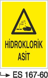 Asit İkaz ve Uyarı Levhaları - Hidroklorik Asit Es 167-60