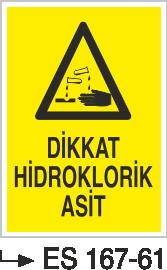 Asit İkaz ve Uyarı Levhaları - Dikkat Hidroklorik Asit Es 167-61