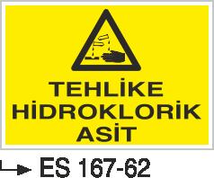 Asit İkaz ve Uyarı Levhaları - Tehlike Hidroklorik Asit Es 167-62