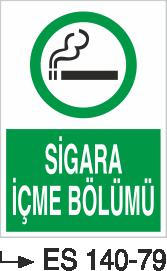 Sigara İkaz Uyarı Levhaları - Sigara İçme Bölümü Es 140-79