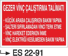 Vinç İkaz Levhaları - Gezer Vinç Çalıştırma Talimatı Es 22-91