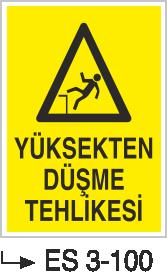 Düşme Tehlikesi Levhaları - Yüksekten Düşme Tehlikesi Es 3-100