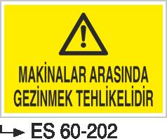 Makina Uyarı ve Bilgilendirme Levhaları - Makinalar Arasında Gezinmek Tehlikelidir Es 60-202