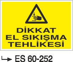 Makina Uyarı ve Bilgilendirme Levhaları - Dikkat El Sıkışma Tehlikesi ES 60-252