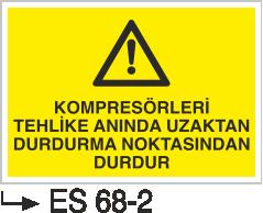 Kompresör Uyarı Levhaları - Kompresörleri Tehlike Anında Uzaktan durdurma Noktasından Durdur Es 68-2