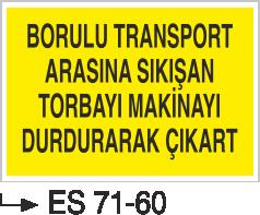 İşyeri Uyarı İkaz Levhaları - Borulu Transport Arasına Sıkışan Torbayı Makinayı Durdurarak Çıkart Es 71-60
