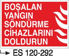 Fotolümenli Uyarı Levhaları - Boşalan Yangın Söndürme Cihazlarını Doldurun Es 120-292