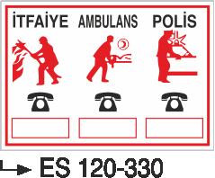 Yangın Uyarı ve İkaz Levhaları - İtfaiye Ambulans Polis Es 120-330