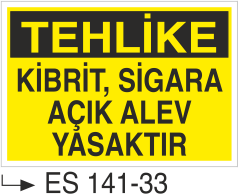Ateş İkaz Levhaları - Dikkat Kibrit Sigara Açık Alev Yasaktır Es 141-33