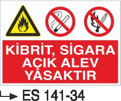Ateş İkaz Levhaları - Kibrit Sigara Açık Alev Yasaktır Es 141-34