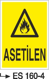 Tehlikeli Madde İkaz Levhaları - Asetilen Es 160-4