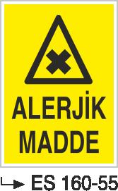 Tehlikeli Madde İkaz Levhaları - Alerjik Madde Es 160-55