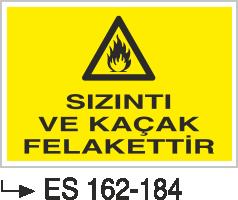 Doğalgaz ve Gaz Uyarı Levhaları - Sızıntı Ve Kaçak Felakettir Es 162-184