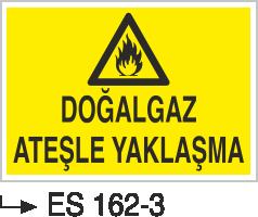 Doğalgaz ve Gaz Uyarı Levhaları - Doğal Gaz Ateşle Yaklaşma Es 162-3