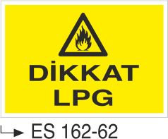 Doğalgaz ve Gaz Uyarı Levhaları - Dikkat Lpg Es 162-62