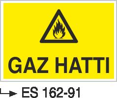 Doğalgaz ve Gaz Uyarı Levhaları - Gaz Hattı Es 162-91