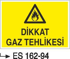 Doğalgaz ve Gaz Uyarı Levhaları - Dikkat Gaz Tehlikesi Es 162-94