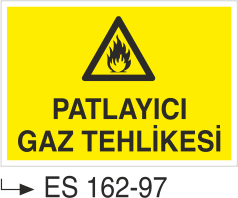 Doğalgaz ve Gaz Uyarı Levhaları - Patlayıcı Gaz Tehlikesi Es 162-97