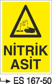 Asit İkaz ve Uyarı Levhaları - Nitrik Asit Es 167-50