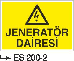Elektrik Uyarı Levhaları - Jeneratör Dairesi Es 200-2